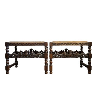 Pair 19th Century Jacobean End Tables