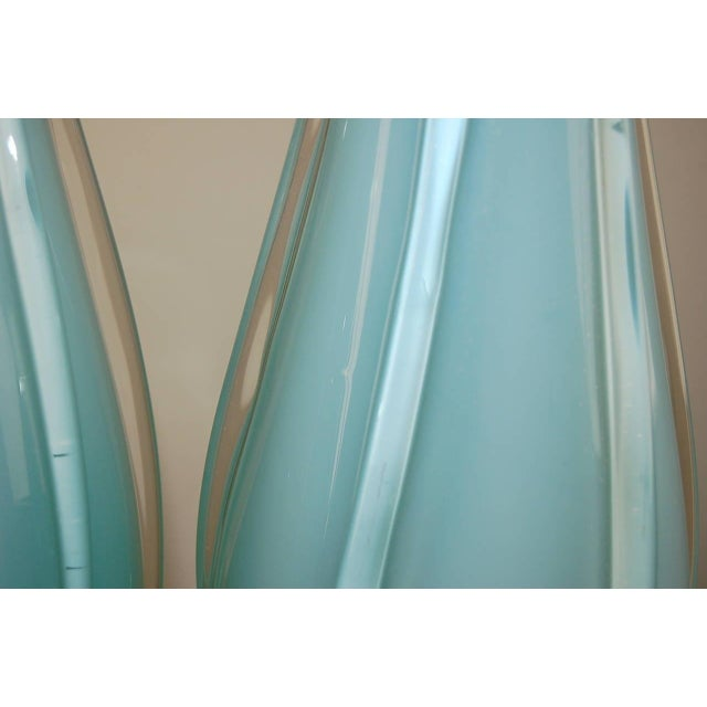 Glass Vintage Murano Opaline Glass Table Lamps Blue For Sale - Image 7 of 9