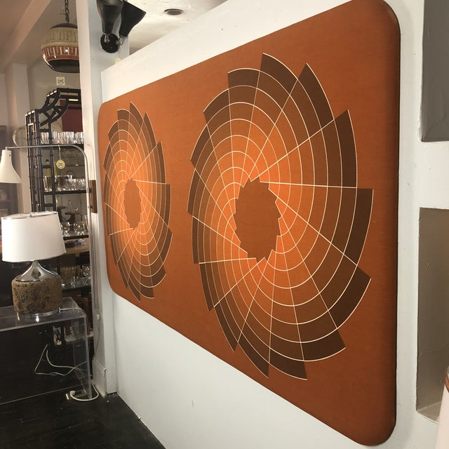 1960s Large Textile Optic Art Upholstered Panel. Can be hung horizontally or vertically. Would make an incredible...