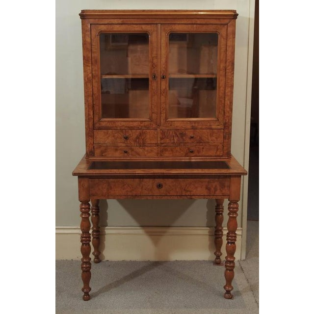 Antique French Louis Philippe Burled Elm Writing Table or Secretaire For Sale - Image 9 of 9
