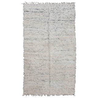 Vintage White Moroccan Reversible Beni Ourain Rug - 6′5″ × 11′2″ For Sale