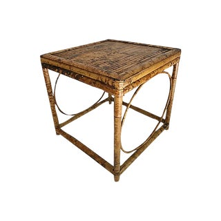 English Burnt Bamboo Side Table For Sale