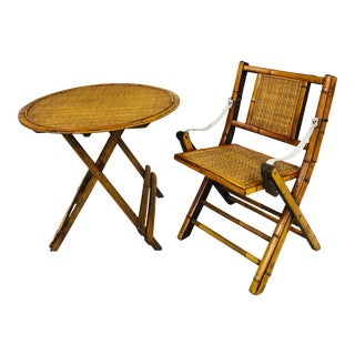 20th Century Folding Bamboo Table and Chair - a Set For Sale