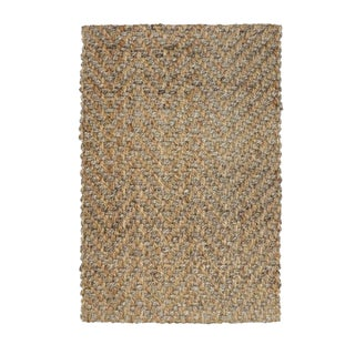 Herringbone 2 Tone Natural Jute Rug - 5' X 8' For Sale