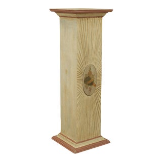 PS Collection Custom Crafted Paint Decorated Wooden Pedestal For Sale