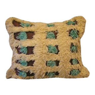 Vintage Turquoise Rosette Fabric Pillow For Sale
