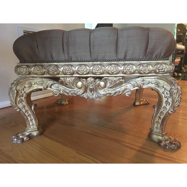 Empire Lion Paw Giltwood Tufted Ottoman For Sale - Image 4 of 10