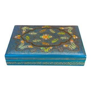 Royal Teal and Gold Jewelry Box For Sale