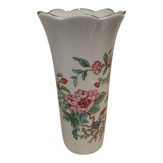 Gold Rim Floral Shape Painted Vase For Sale