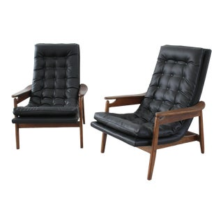 Mid Century Modern Scoop Chair Loungers in Milo Baughman Style- A Pair For Sale