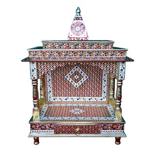 Meenakari Multicolor Home Puja Mandir Hindu Temple Mandapam Altar For Sale