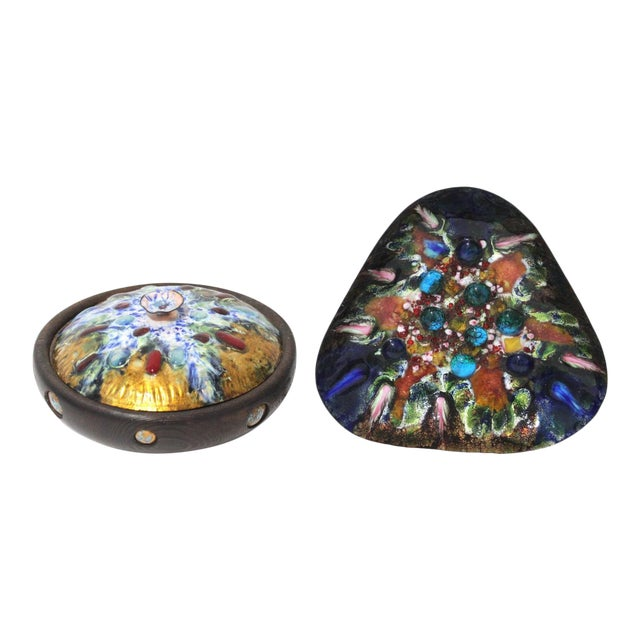 Mid-Century Artisan Copper Enamel on Wood Box and Dish by Esmaltes Capo - a Set of 2 For Sale