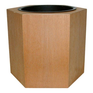 Circa 1970s Paul Mayen Hexagonal Oak and Aluminum Planter For Sale