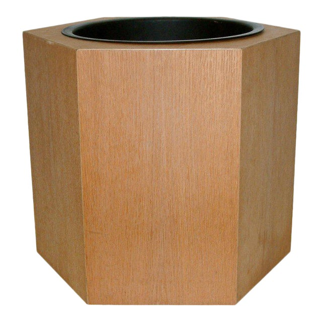 Circa 1970s Paul Mayen Hexagonal Oak and Aluminum Planter - Image 1 of 7