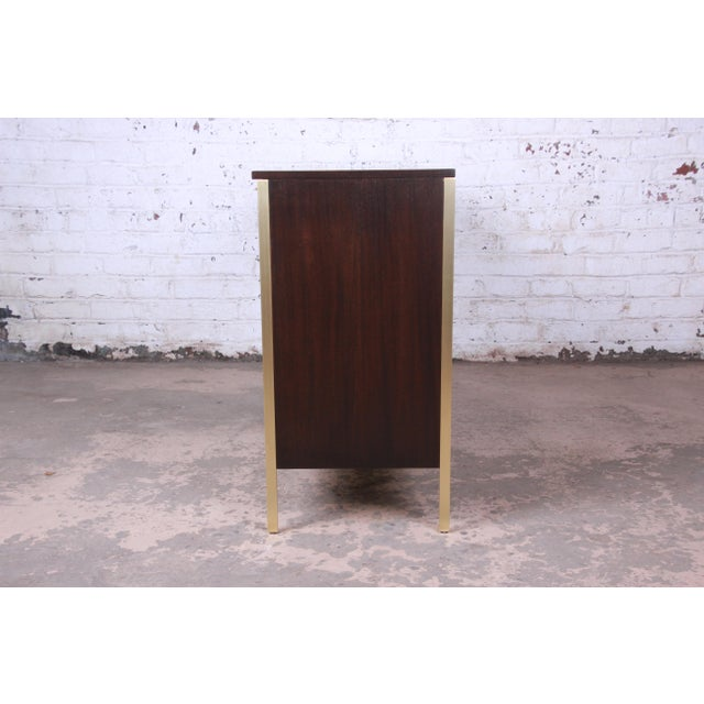 Paul McCobb for Calvin Mahogany and Brass Sideboard Credenza For Sale - Image 11 of 13
