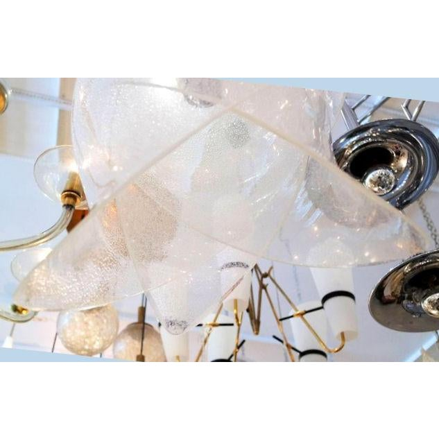 French Mid Century Modern Carlo Nason Murano Glass Chandelier, by Mazzega, Italy 1960s For Sale - Image 3 of 6