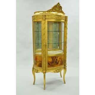 French Louis XV Gold Gilt Wood Vernis Martin Curved Glass Vitrine Curio Cabinet Preview