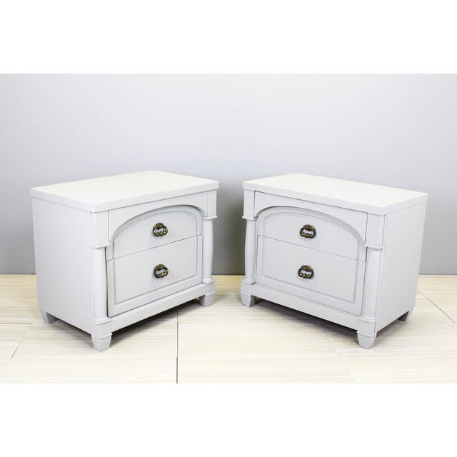Mid century pair of walnut nightstands, this beautiful pair of nightstands have been nicely painted in a gray chalk...