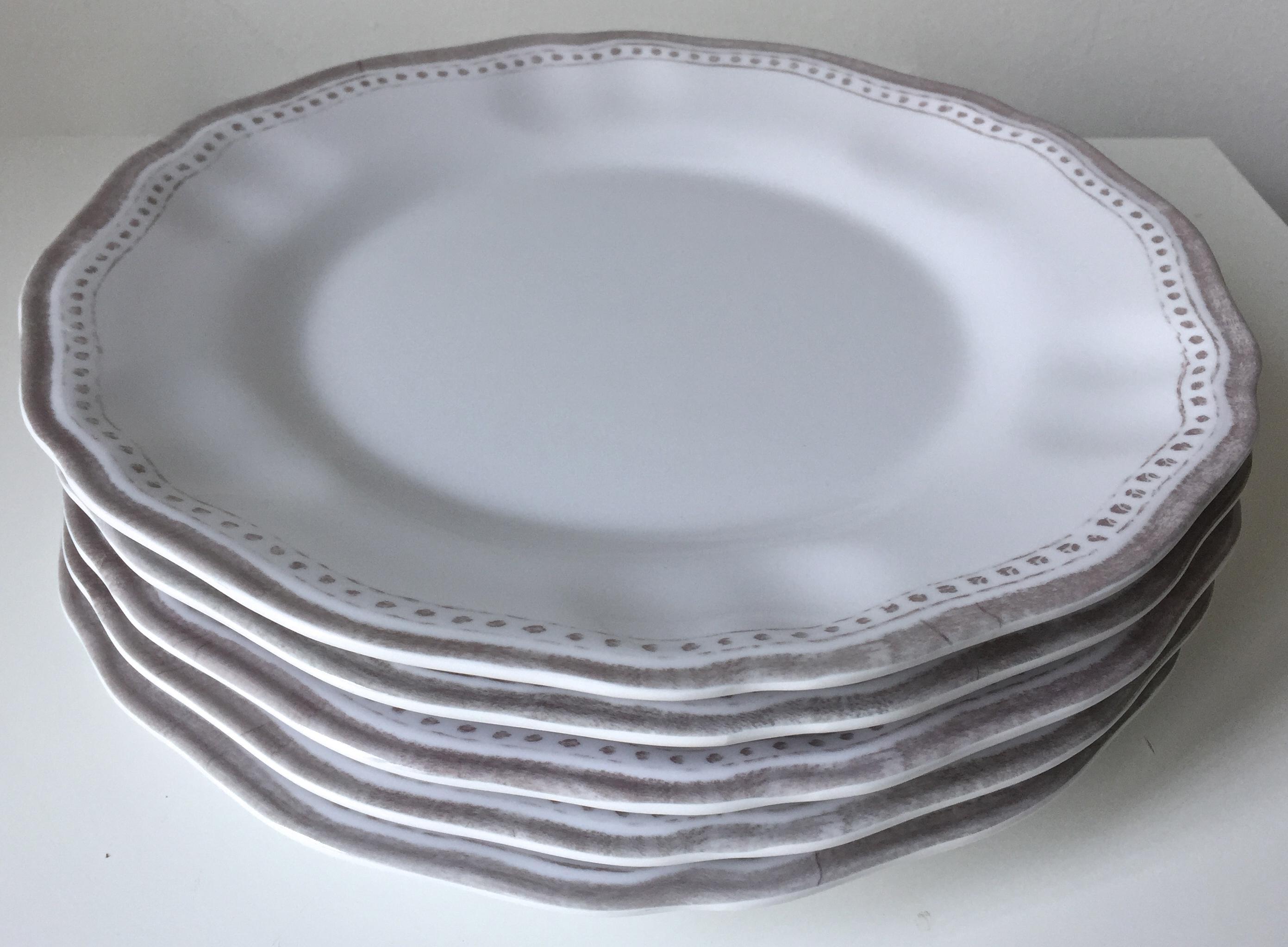 Le Cadeaux \ Provence\  White Melamine Plates - Set of 5 - Image ...  sc 1 st  Chairish & Le Cadeaux \