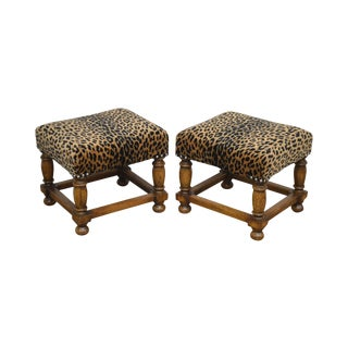 Jacobean Style Quality Pair Small Oak Leopard Print Stools For Sale