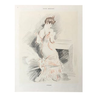 1899 Original French Framed Sketch of a Woman, Étude For Sale