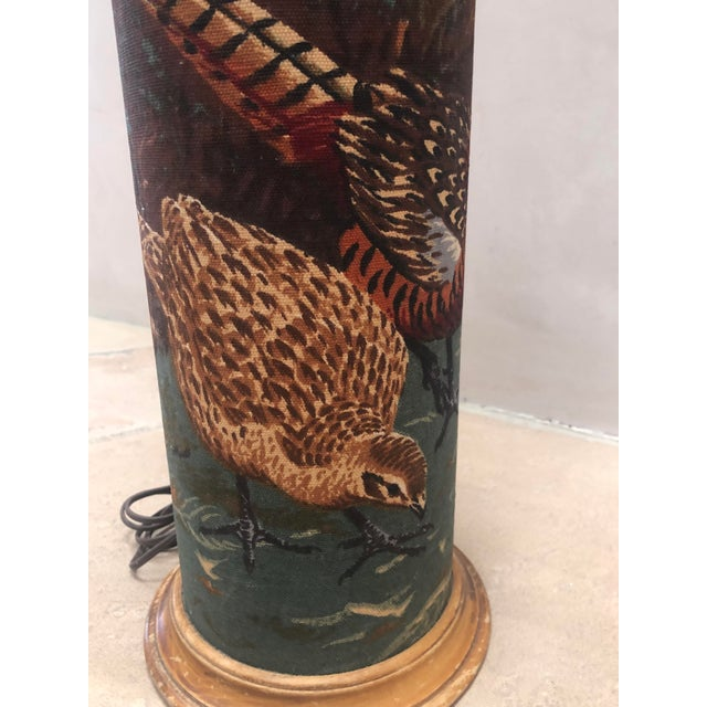 Early American Linen American Pheasant and Hen Lamp-Ralph Lauren Style For Sale - Image 3 of 11