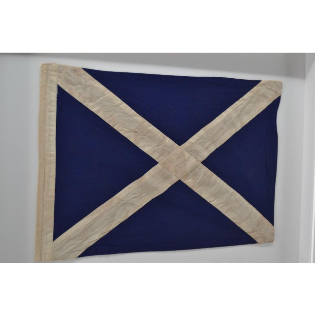 """Contemporary Real Framed Cotton Signal Flag """"M"""" For Sale - Image 3 of 5"""