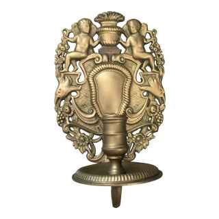 Vintage 20th C Antique Rococo Brass Cherub Candle Sconce, Single For Sale