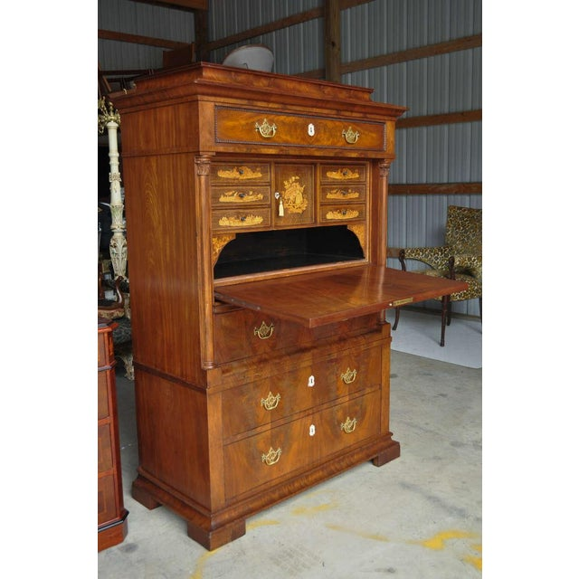 19th Century French Empire Flame Mahogany Drop Front Secretaire For Sale - Image 4 of 10