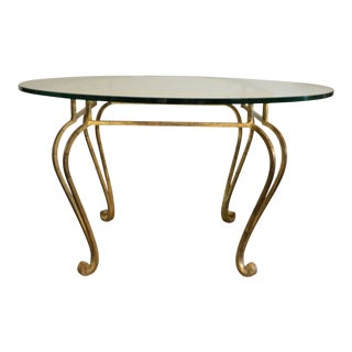 Hollywood Regency Gilded Wrought Iron Round Center Table For Sale