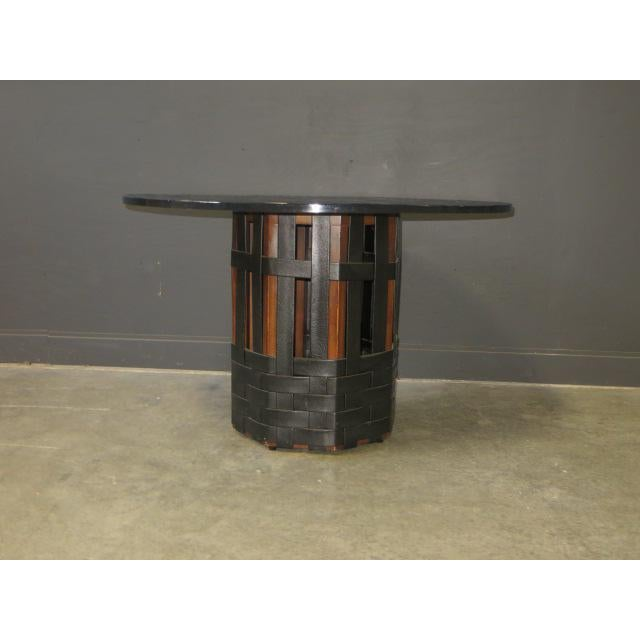 Mid-Century Modern Mid Century Modern Faux Slate Dining Table With Leather Banding For Sale - Image 3 of 13