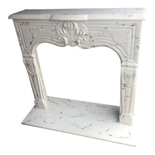 1980s Vintage White Marble Mantle For Sale
