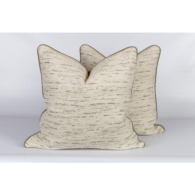 Custom Green & Ivory Velvet Tweed Pillows - a Pair - Image 5 of 5