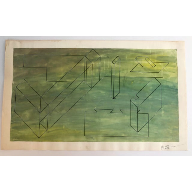 1950s Mid-Century Modern Geometric Painting For Sale - Image 6 of 7