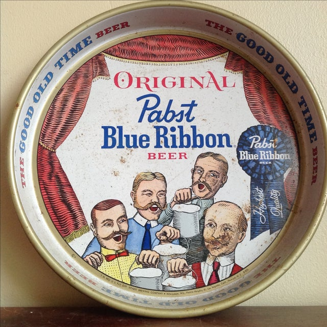 Traditional Vintage Original Pabst Blue Ribbon Metal Tray For Sale - Image 3 of 10