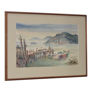 Vintage Sausalito from Belvedere Watercolor c.1960s For Sale