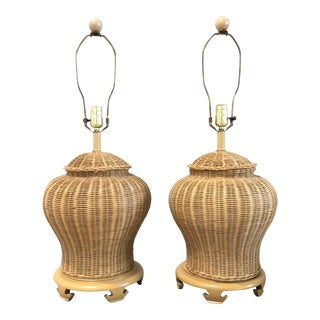 1970s Boho Chic Wicker Lamps - a Pair For Sale