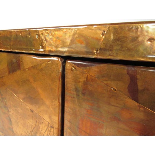 Patchwork Copper and Lucite Sideboard in the Style of Milo Baughman For Sale In New York - Image 6 of 11