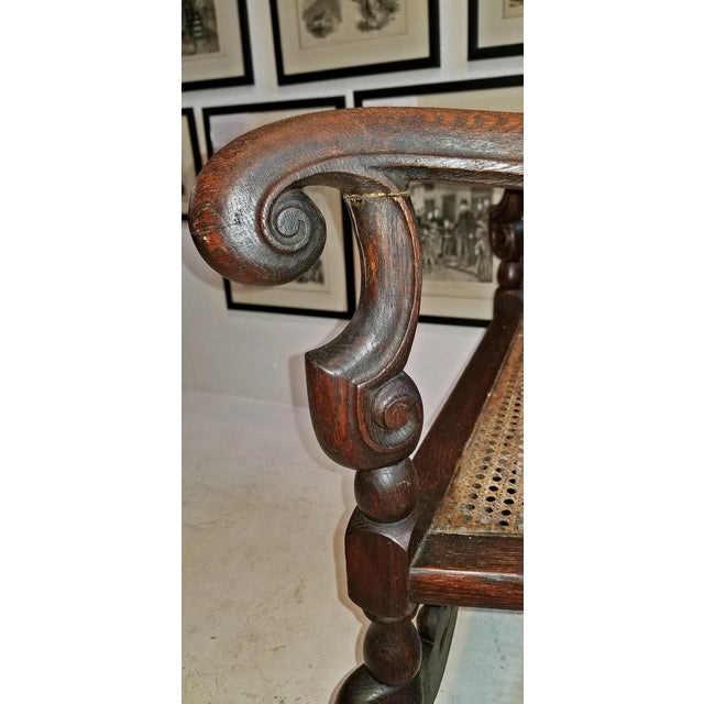 17th Century English William & Mary Oak and Cane Armchair For Sale - Image 10 of 13