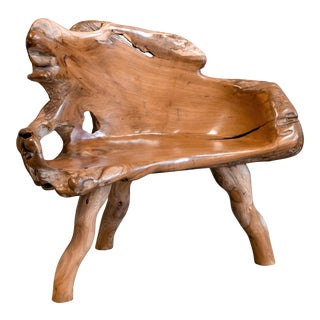 Carved Bench From Reclaimed Antique Teak Root For Sale