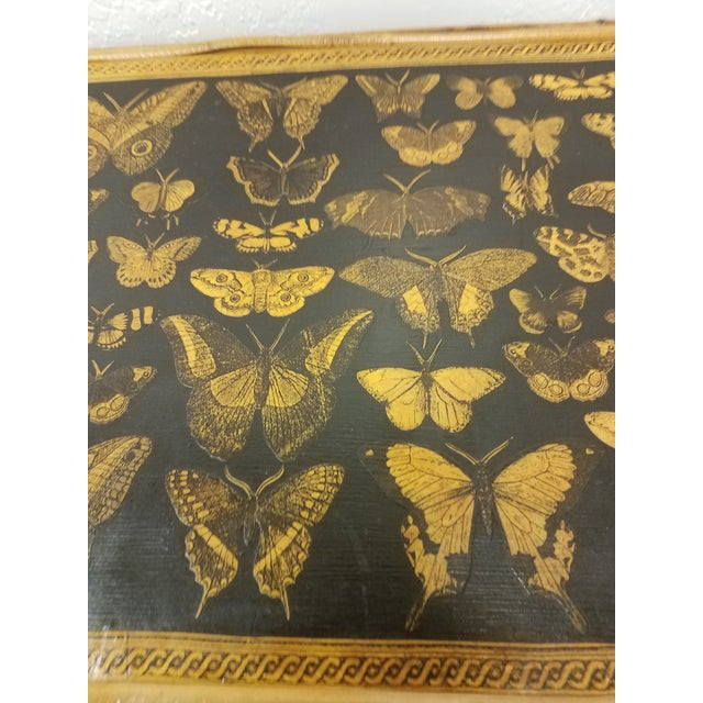 Antique English Bamboo Decoupaged Bookcase With Butterflies For Sale - Image 9 of 13