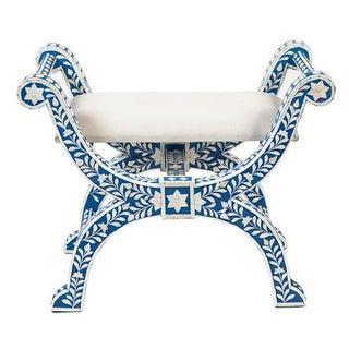 Bone Inlaid Blue Regency Stool For Sale