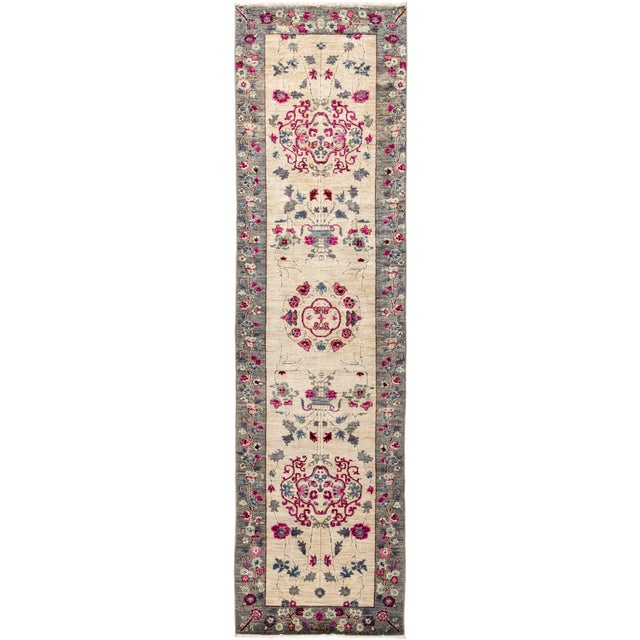 Ivory Suzani Runner Rug For Sale - Image 4 of 4