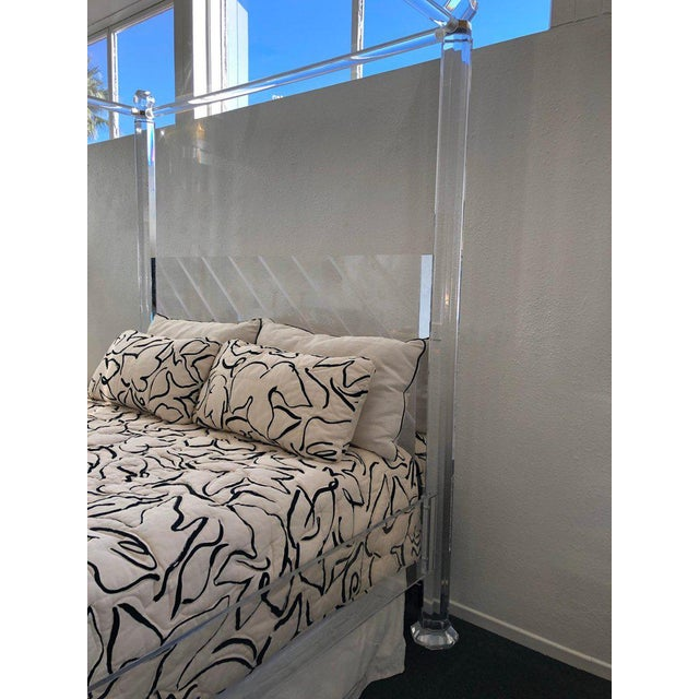 1980s Clear Lucite and Brass King Size Canopy Bed For Sale - Image 5 of 6