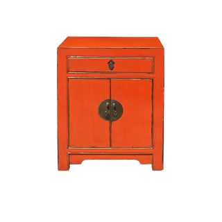 Chinese Oriental Distressed Orange Side End Table Nightstand For Sale