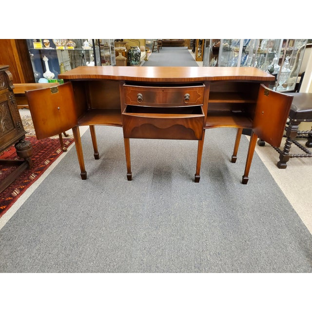 Wood Antique Georgian Style Flamed Mahogany Sideboard For Sale - Image 7 of 13