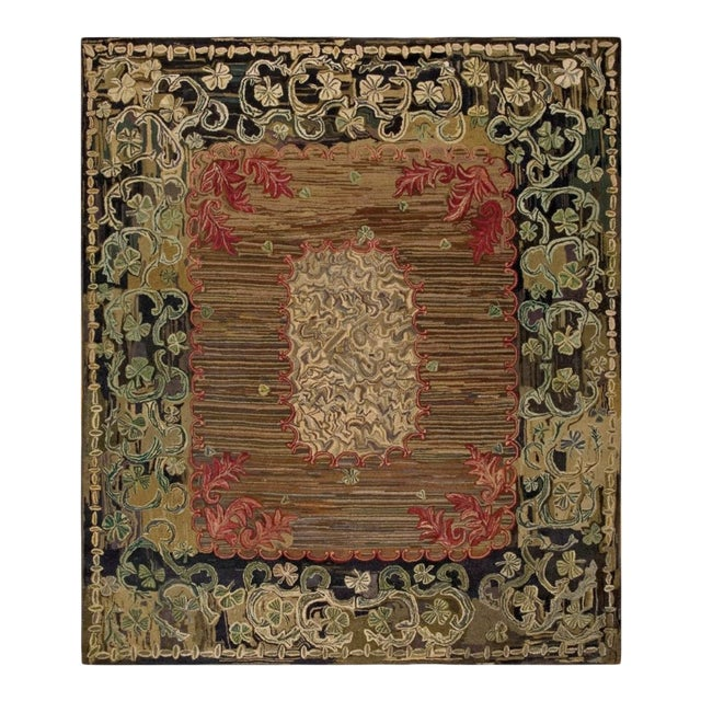 """Antique American Hooked Rug 8'10' X 10'3"""" For Sale"""
