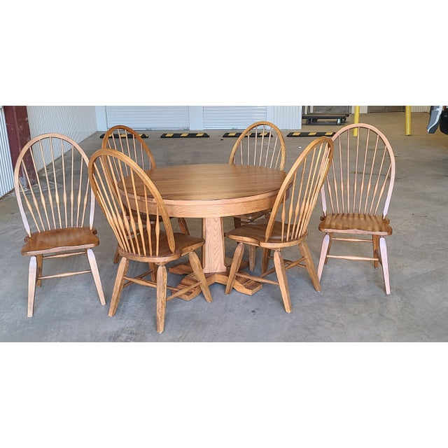 Broyhill Furniture Attic Heirlooms Dining Kitchen Set ~ Solid Oak Table W/ 6 Windsor Side Chairs For Sale - Image 13 of 13