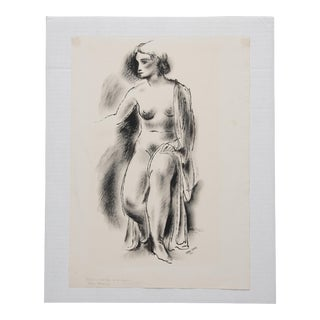 1933 Antique Konrad Cramer Seated Female Nude Study Drawing For Sale