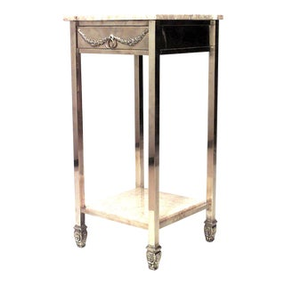 American Victorian Brass and Marble End Table For Sale